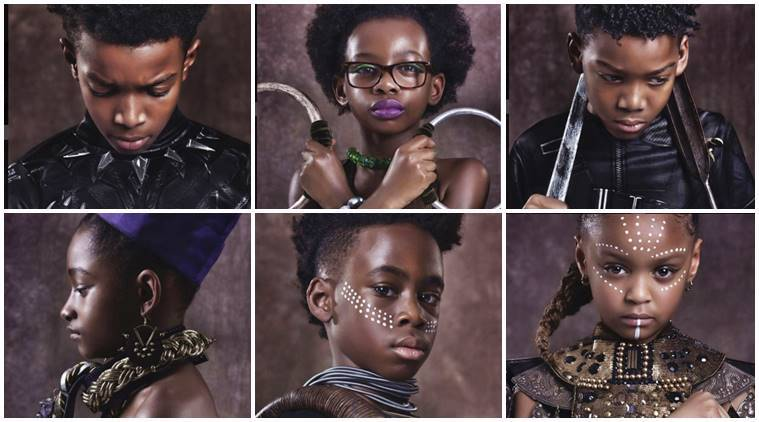 Kids dressed as Black Panther characters