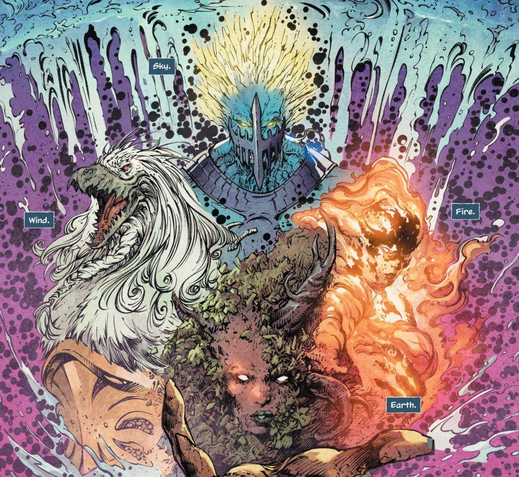 Aquaman #45 Interior Art of the 4 gods