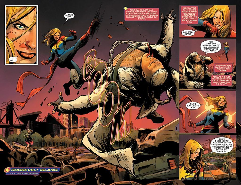 Captain Marvel and Nuclear Man Fighting