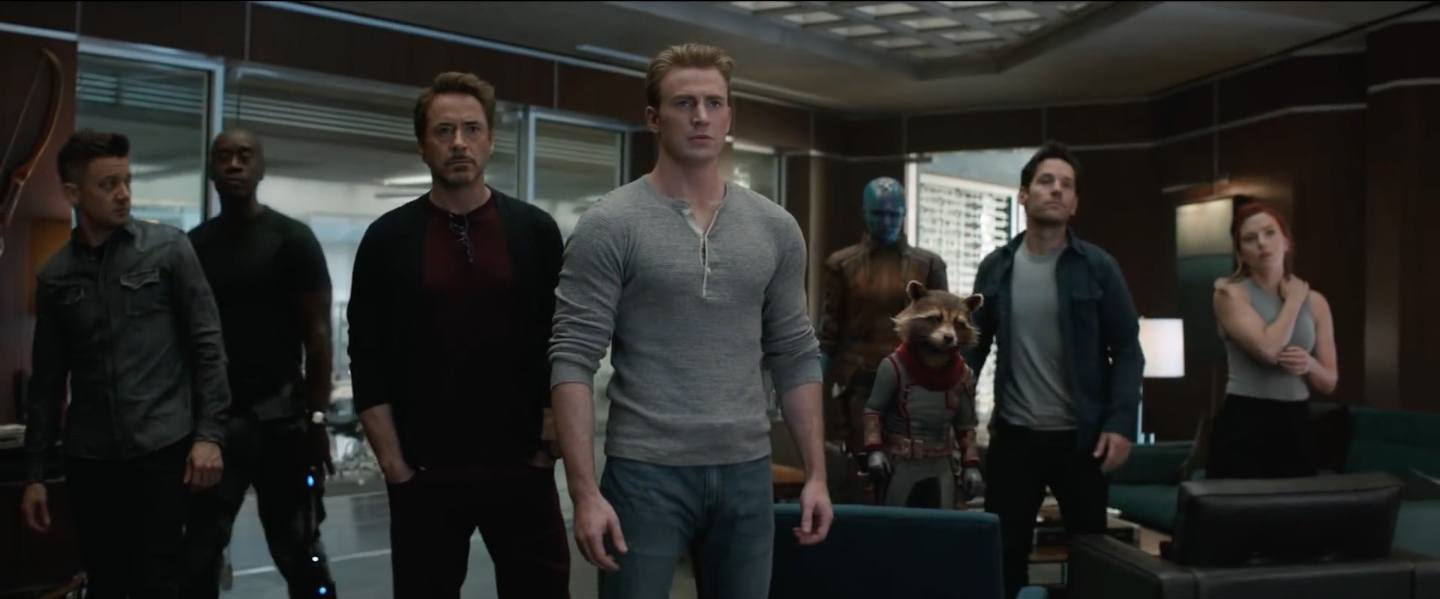 Avengers assembling in the headquarters, Tony and Steve front and center