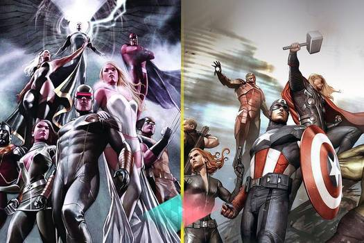 (left) X-Men comic cover with Cyclops. (Right) Avengers comic cover with Captain America