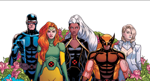 Group shot from Giant-Size X-Men: Jean Grey and Emma Frost with Jean, Emma, Storm, Cyclops, and Wolverine.