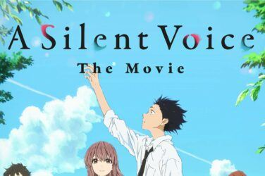 Movie poster for A Silent Voice. Shoko stands in the middle, raising his hand to the sky, Shoya stands next to him. they are surrounded by other students going about their day.