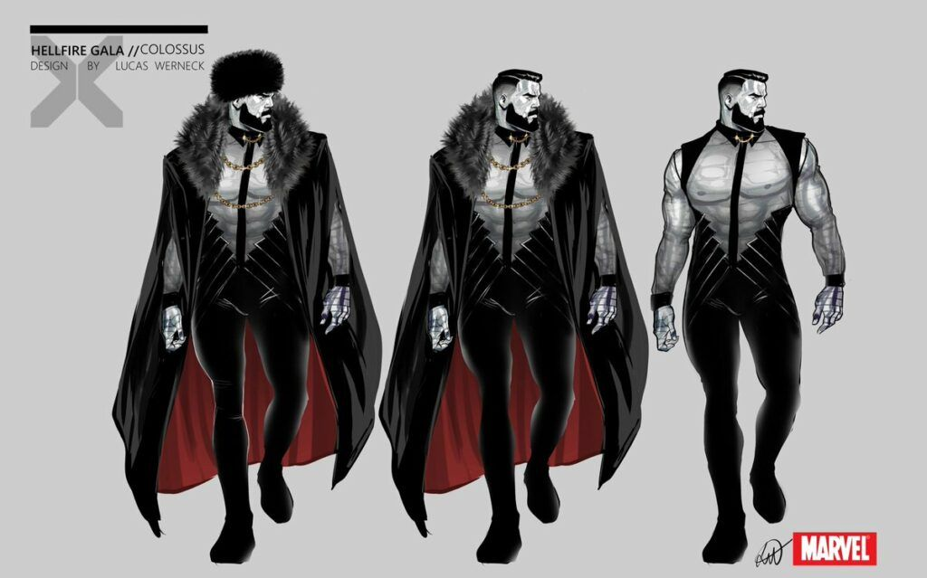 Hellfire Gala Colossus with beard, Russian jacket, chest out and black pants and shoulder straps