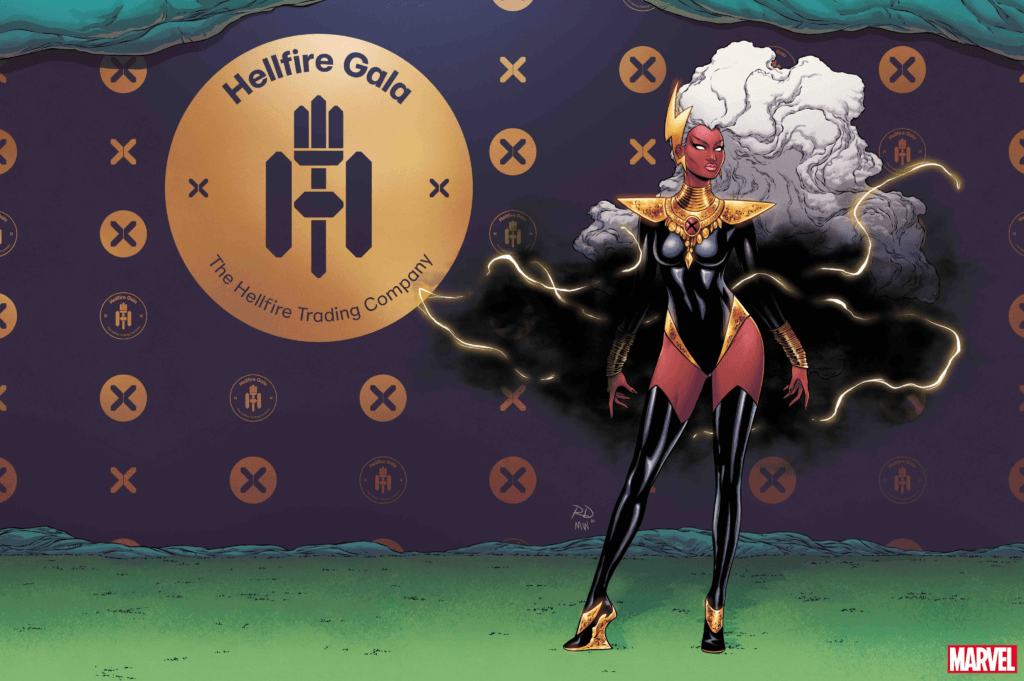 Hellfire Gala: Storm with her hair natural and wavy looking like a cloud, in a black body suit, heels, and a thundercloud as a shall