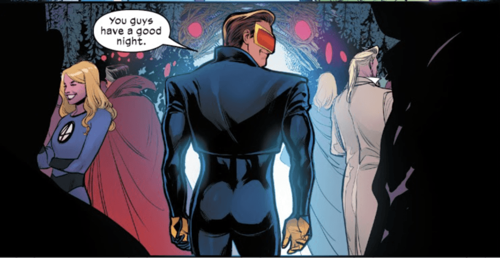 Hellfire Gala: Scott Summers wishing guests a good night with a view of his back and butt