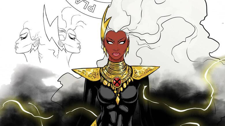 close up of storm's black body suit, gold around her neck, face, and hair in cloud like state