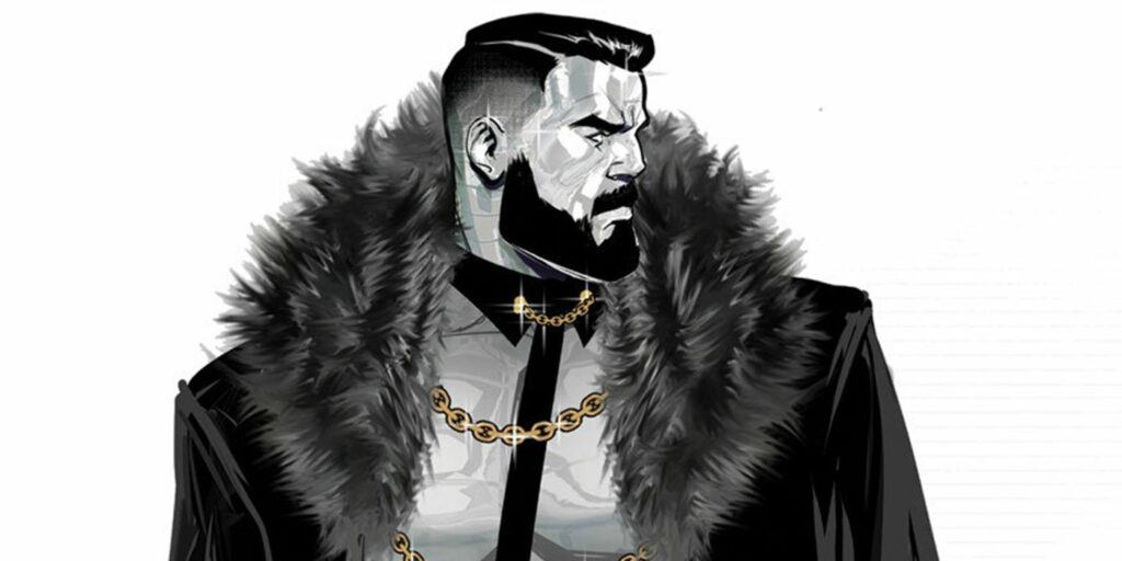 Colossus in metal form wearing a beard and heavy coat