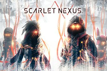 Scarlet Nexus promo pic. Several figures in silhouette with glowing orage eyes and orange cables connecting them.