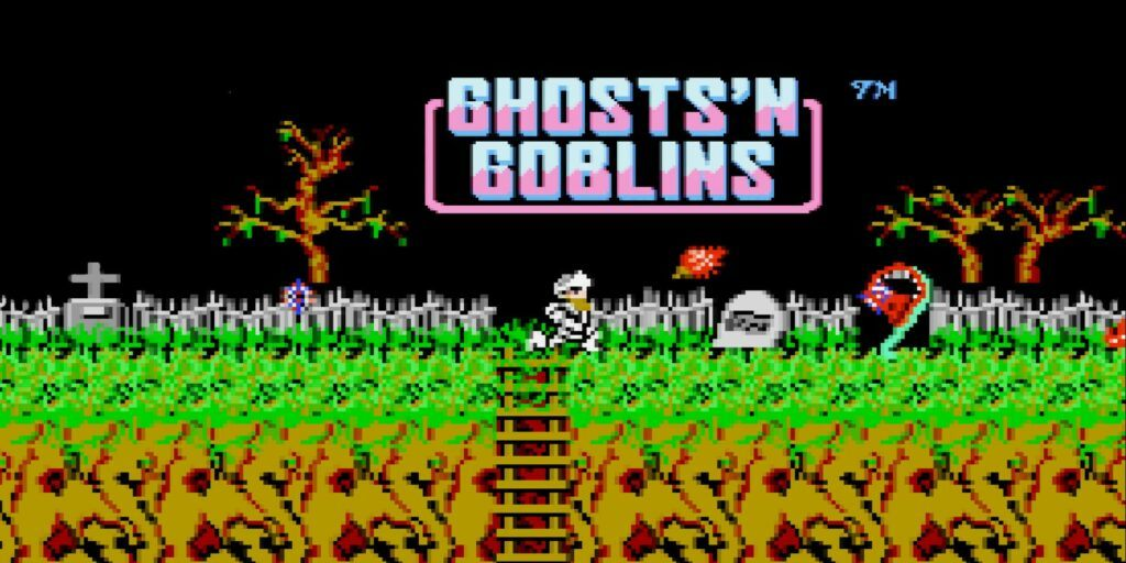 Ghosts'n Goblins start screen. 2D sidescroller from Capcom. Very goth vibes.