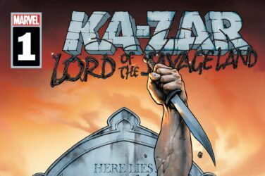 Ka-Zar rising from his grave, knife in hand.